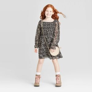 Art Class Long Sleeve Smocked Woven Dress - Black